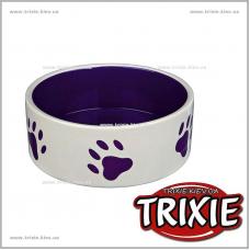 Миска керамическая для собак TRIXIE  (Размер:0,3л/ф 12 см, Цвет: белый/сиреневый)